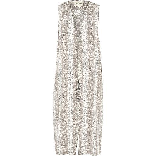 Grey snake print longline vest
