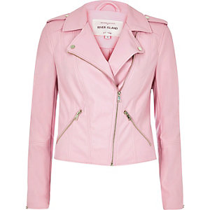 Pink leather look biker jacket