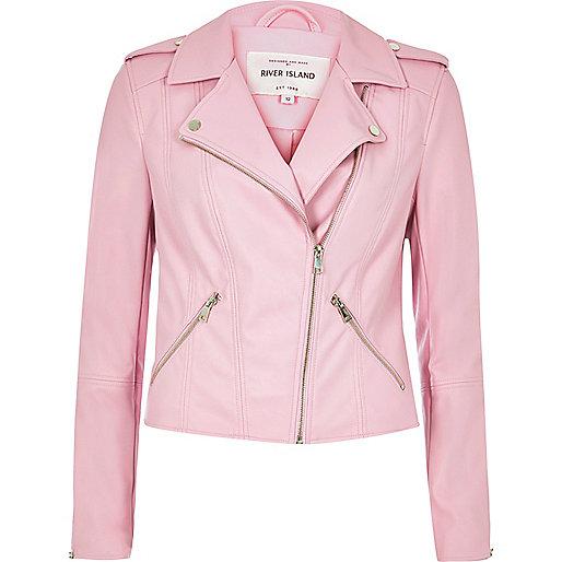 Pink leather look biker jacket
