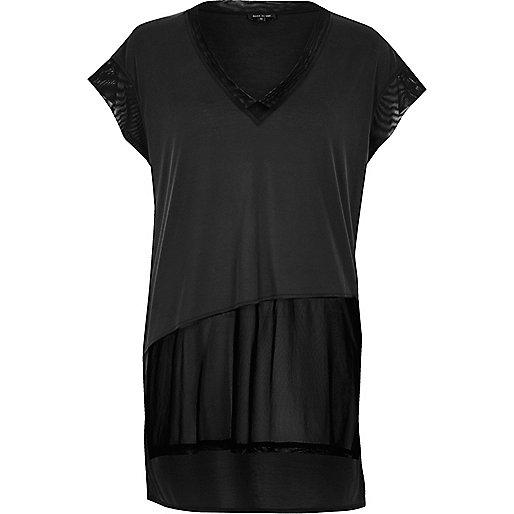 T-shirt gris à empiècement en tulle transparent