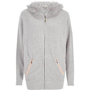Grey faux fur lined longline hoodie