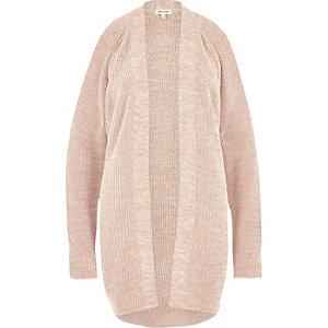 Light brown knit cold shoulder cardigan