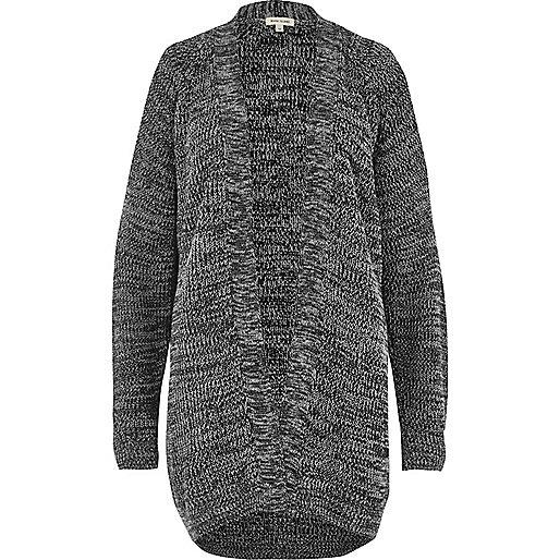 Grey knit cold shoulder cardigan