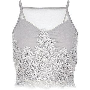Grey sheer lace crop top