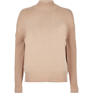 Beige long sleeve turtle neck top