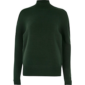 Dark green turtle neck sweater