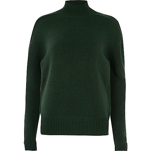 Dark green turtleneck jumper