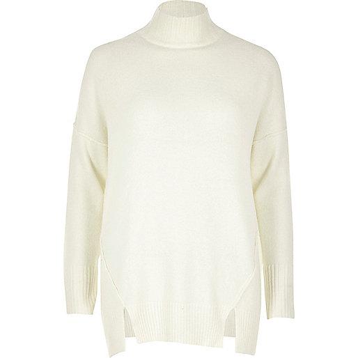 Cream knit circle back sweater