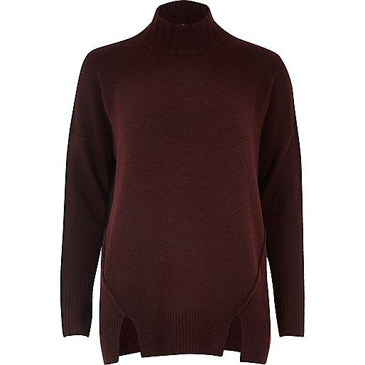 Dark red knit open back sweater