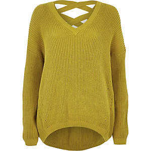 Yellow knit cross strap jumper