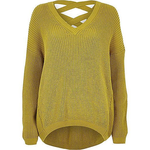 Yellow knit cross strap sweater