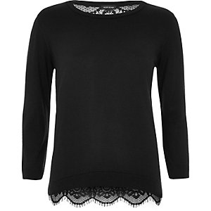 Black lace back top