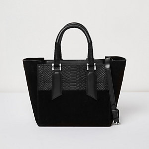 Black embossed leather mini tote bag
