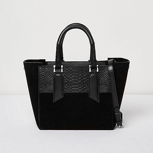 Black embossed leather mini tote bag