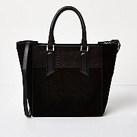 Black embossed leather large tote bag