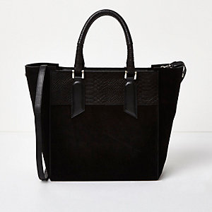 Black embossed snake leather large tote