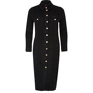 Black washed denim shirt dress