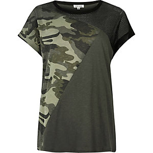 Khaki camouflage mesh panel boyfriend T-shirt
