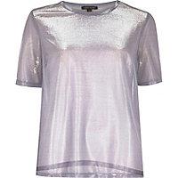 T-shirt violet clair métallisé transparent