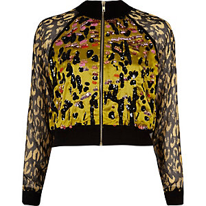 Yellow leopard print embellished shacket