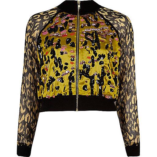 Gelbe, verzierte Hemdjacke mit Leopardenprint