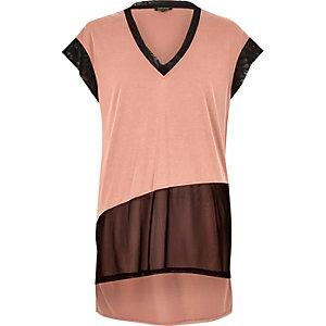 Pink sheer mesh panel T-shirt