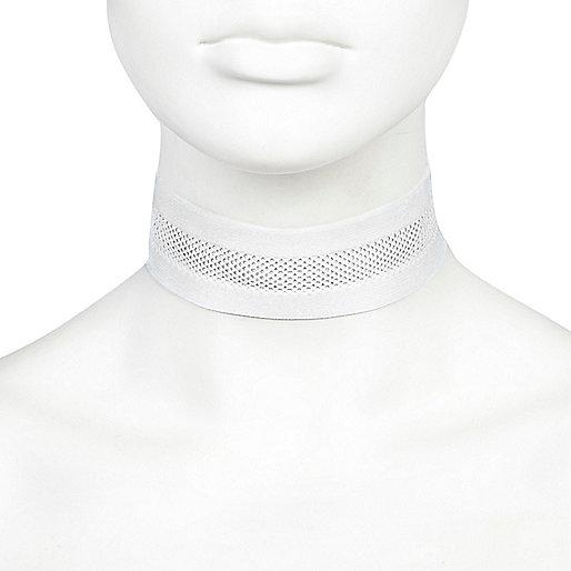 Collier ras du cou en résille blanc large