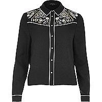 Black cutwork shirt