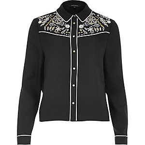 Black cutwork shirt