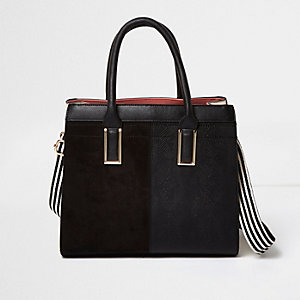 Black boxy tote handbag