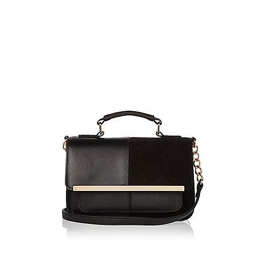 Black panel gold tone trim shoulder handbag