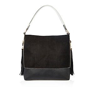 Black contrast panel tassel handbag
