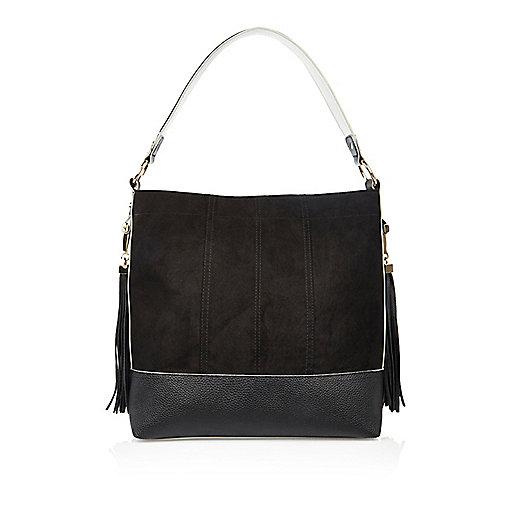 Black contrast panel tassel handbag