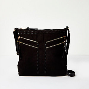 Black stitch detail double zip handbag