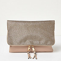Gold flapover large clutch