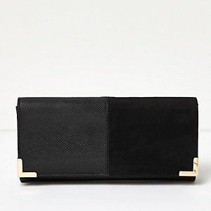 Black panel foldover clutch