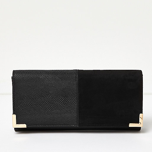 Black panel foldover clutch bag