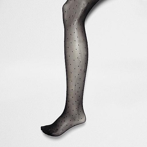 Schwarze, gepunktete Strumpfhosen