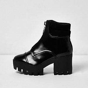 Black patent zip chunky platform boots