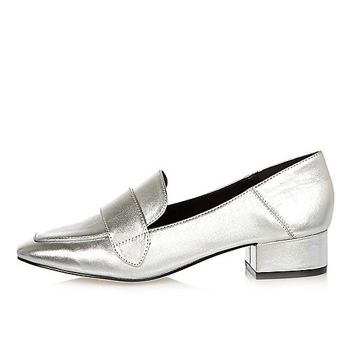 Silver leather block heel loafers