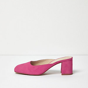 Bright pink suede round toe mules