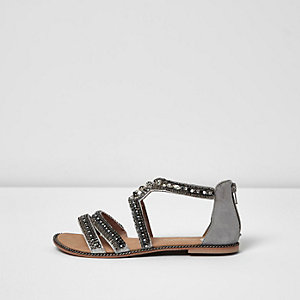 Grey embellished multi strap sandals