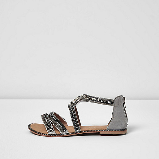 Grey embellished strappy sandals