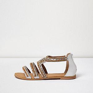 Gold embellished multi strap sandals