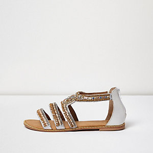 Gold embellished multi strap sandals
