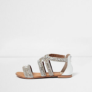 White embellished multi strap sandals