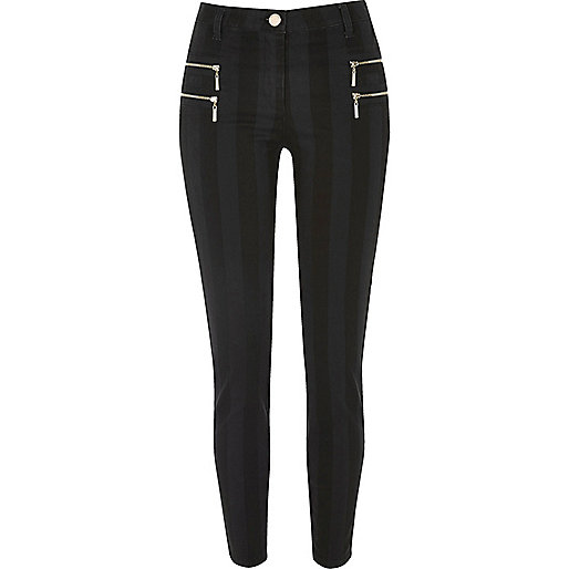 Black stripe zipped super skinny trousers