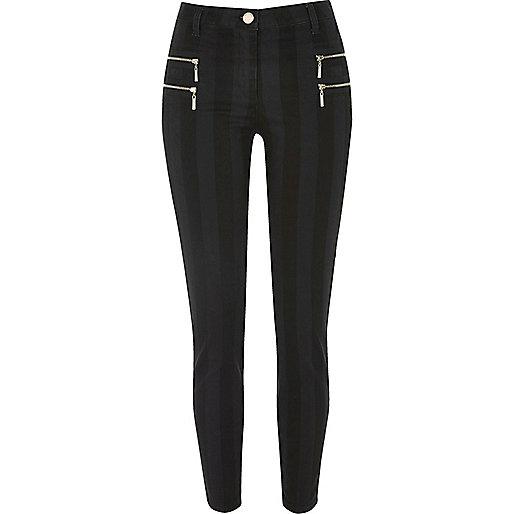 Pantalon super skinny à rayures noir zippé