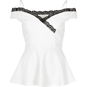 White lace trim peplum top