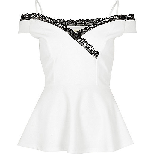 White lace trim peplum top